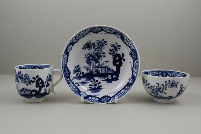 Lowestoft Porcelain Fence Hollow Rock and Peony Pattern Trio, C1785-1800. a