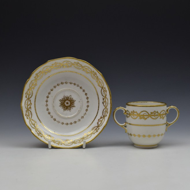 Derby Gilded Star Pattern Chocolate Cup and Stand c1782-1800 (1)