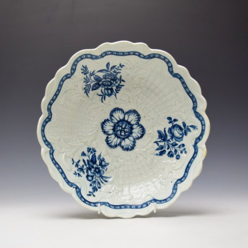 Worcester Molded Natural Sprays Group Pattern Junket Dish c1760-70 Ex Zorenskey Collection (1)