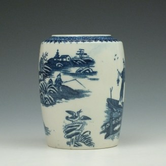 Caughley Fisherman Pattern Tea Canister c1779-99 (2)