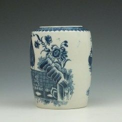 Caughley Fisherman Pattern Tea Canister c1779-99 (4)