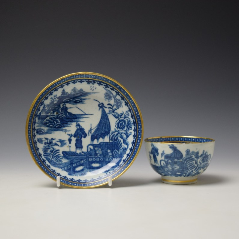 Caughley Fisherman Pattern Teabowl and saucer c1779-99 (1)