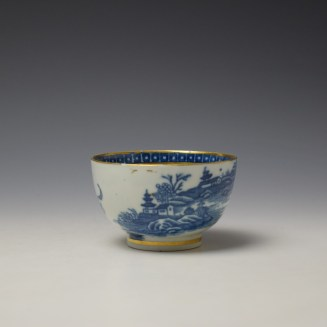 Caughley Fisherman Pattern Teabowl and saucer c1779-99 (4)