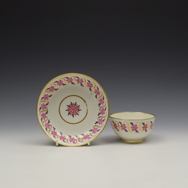 Caughley Floral Banded Swags Pattern Teabowl and Saucer c1790 (1)