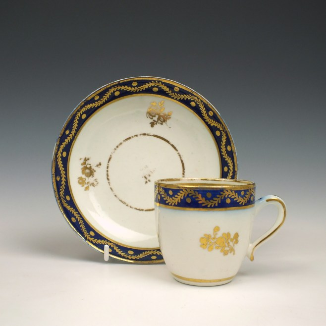Caughley coffee cup and saucer c1790 (1)