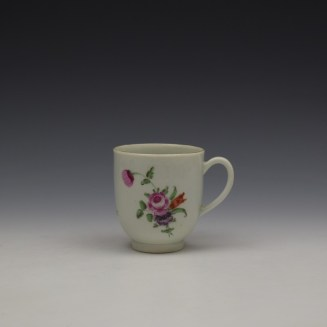 Worcester Floral Pattern Coffee Cup and Saucer c1770-80 Ex Jean Lucas Collection (2)