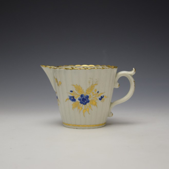 Caughley Gilded Floral Pattern Cream Jug c1785-95 (1)