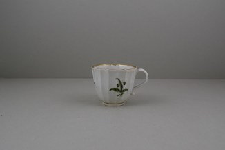 Worcester Porcelain First Period Fluted Green Leaf Sprigs Pattern Coffee Cup and Saucer (2)