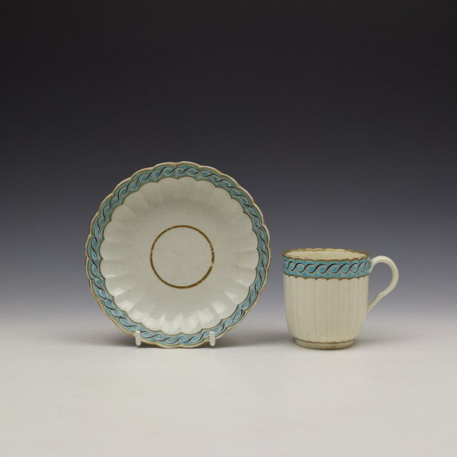 Worcester Fluted Turquoise and Garland Border Pattern Coffee Cup and Saucer c1785-1800 (1)