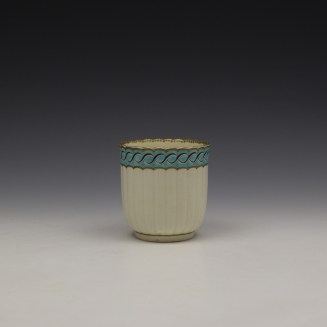 Worcester Fluted Turquoise and Garland Border Pattern Coffee Cup and Saucer c1785-1800 (3)