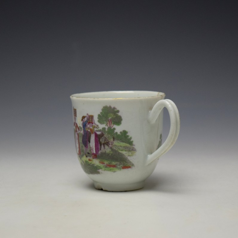 Worcester Milkmaids Pattern Hand Coloured Coffee Cup c1775-80 (5)