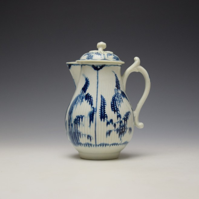 Worcester Immortelle Pattern Sparrow Beak Jug and Cover c1770-90 (0)