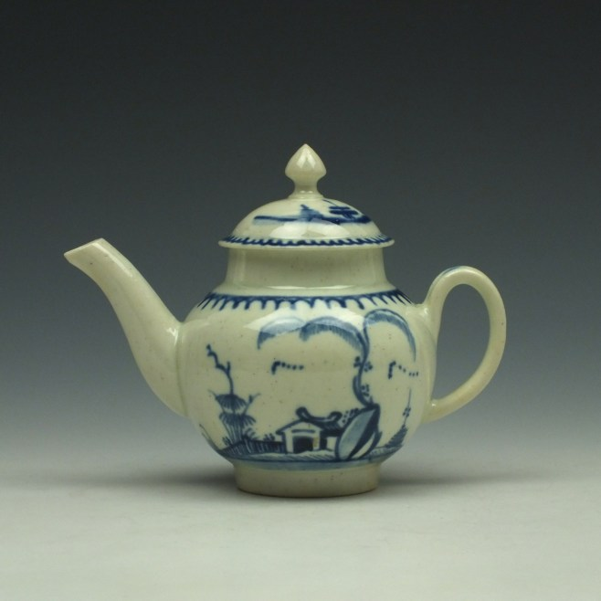 Liverpool John Pennington House Fence and Willow Pattern Toy Teapot c1775-85 (1)