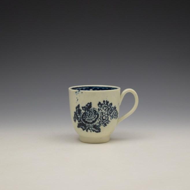 Liverpool John Pennington Peony and Daisy Sprays Pattern Coffee Cup c1780-90 (1)