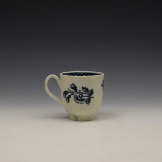 Liverpool John Pennington Peony and Daisy Sprays Pattern Coffee Cup c1780-90 (3)