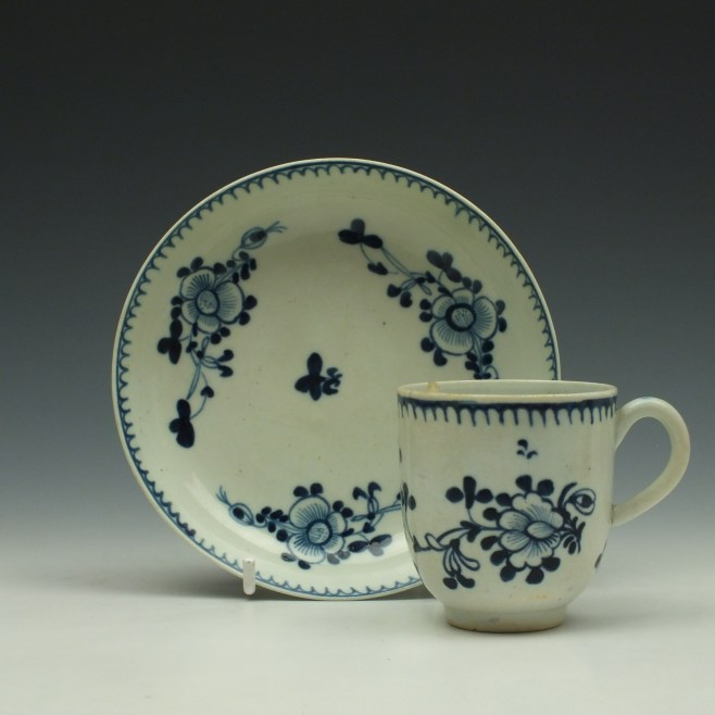 Liverpool John Pennington Profile Bud Pattern Coffee Cup and Saucer c1775-80 (1)