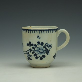 Liverpool John Pennington Profile Bud Pattern Coffee Cup and Saucer c1775-80 (2)