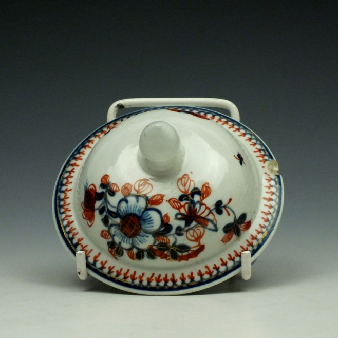 Liverpool John Pennington Profile Bud Pattern Teapot and Cover c1775-85 (9)