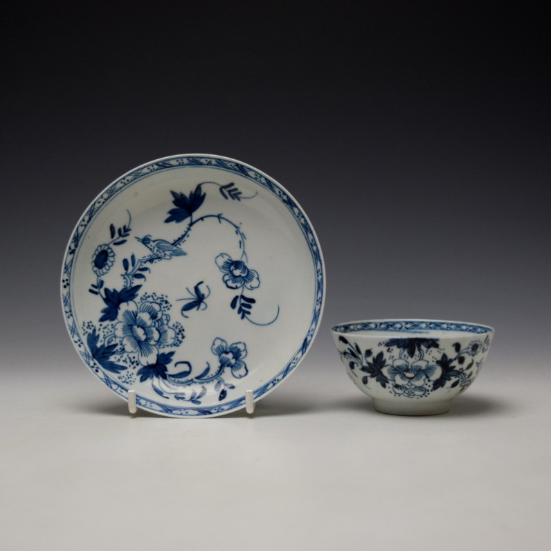 Liverpool Philip Christian Bird in Branches Pattern Teabowl and Saucer c1766-70 (1)