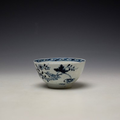 Liverpool Philip Christian Bird in Branches Pattern Teabowl and Saucer c1766-70 (5)