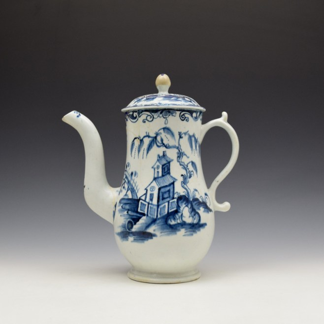 Lowestoft Two Storey Pagoda Pattern Coffee Pot and Cover c1765-70 (1)