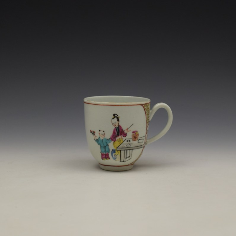 Worcester Mandarin Lady and vase Pattern Coffee Cup c1770-80 (1)