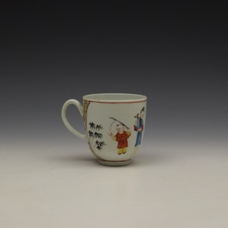 Worcester Mandarin Lady and vase Pattern Coffee Cup c1770-80 (3)