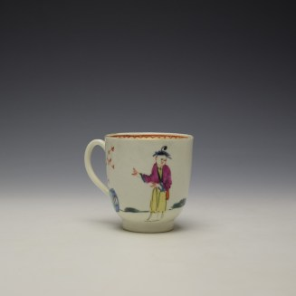 Worcester Mandarin Lady Holding Flowers Pattern Coffee Cup c1770-75 (3)