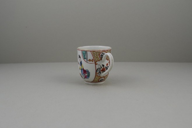 Worcester Porcelain Mother and Naughty Children Pattern Mandarin Coffee Cup, C1770 (6)