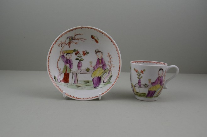 Lowestoft Porcelain Mandarin Parrot and Butterfly Pattern Coffee Cup and Saucer, C1785. 1