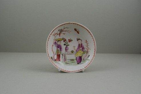 Lowestoft Porcelain Mandarin Parrot and Butterfly Pattern Coffee Cup and Saucer, C1785. 10