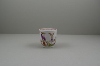 Lowestoft Porcelain Mandarin Parrot and Butterfly Pattern Coffee Cup and Saucer, C1785. 3