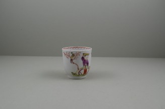 Lowestoft Porcelain Mandarin Parrot and Butterfly Pattern Coffee Cup and Saucer, C1785. 4