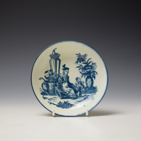 Worcester Mother and Child Pattern Saucer c1775-85 (1)