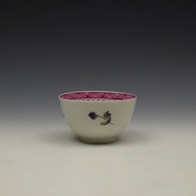 New Hall Rose and Floral Sprays Within a Pink Border Pattern Teabowl and Saucer c1800 (4)