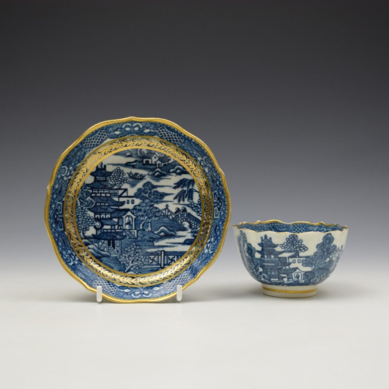 Caughley Pagoda Pattern Teabowl and Saucer c1782-92 (1)