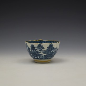 Caughley Pagoda Pattern Teabowl and Saucer c1782-92 (2)