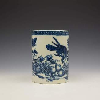 Caughley Parrot Peaking Fruit Pattern Mug c1775-99 (2)