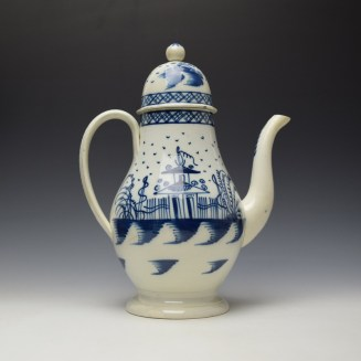 English Pearlware Candle Fence Pavilion Pattern Coffee Pot and Cover c1780-1800 (3)
