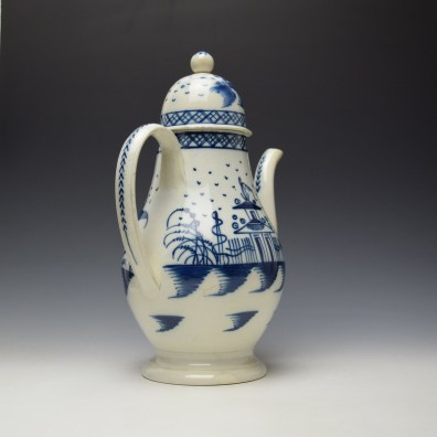 English Pearlware Candle Fence Pavilion Pattern Coffee Pot and Cover c1780-1800 (4)