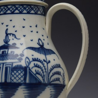 English Pearlware Candle Fence Pavilion Pattern Coffee Pot and Cover c1780-1800 (5)