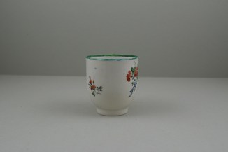 Liverpool Porcelain Pennington's Pink Rose and Flower Spray Pattern Coffee Cup, C1780-85. 2
