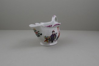 Liverpool Porcelain Philip Christian Mandarin Conjuror Pattern Creamboat, C1768-72 (2)