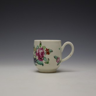 Liverpool Philip Christian Rose and Floral Sprays Pattern Coffee Cup and Saucer c1770 (2)