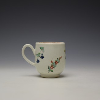 Liverpool Philip Christian Rose and Floral Sprays Pattern Coffee Cup and Saucer c1770 (4)
