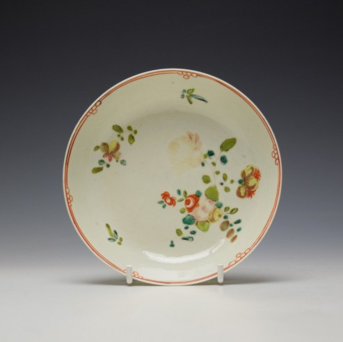 Liverpool Philip Christian Rose and Floral Sprays Pattern Teabowl and saucer c1770-75 (8)
