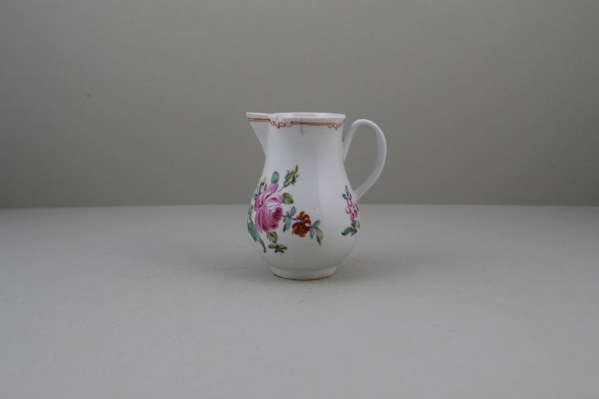 Liverpool Porcelain Christian's Rose Pattern Sparrow Beak Jug C1770 (1)