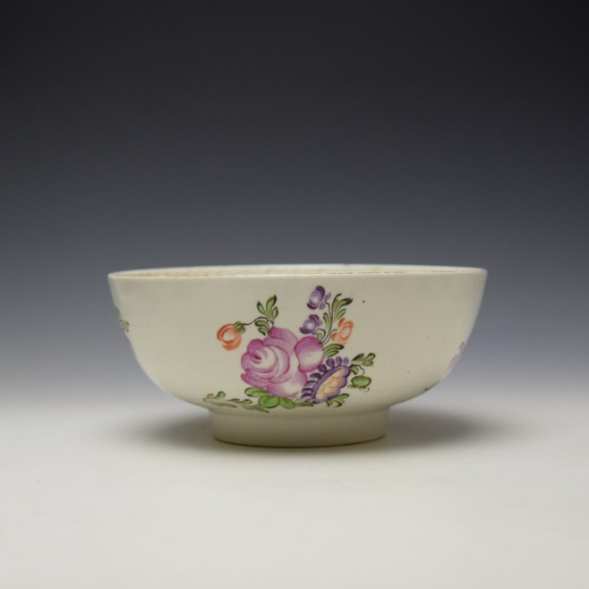 Lowestoft Polychrome Rose and Flower Sprays Pattern Slop Bowl, c1770-75 (1)
