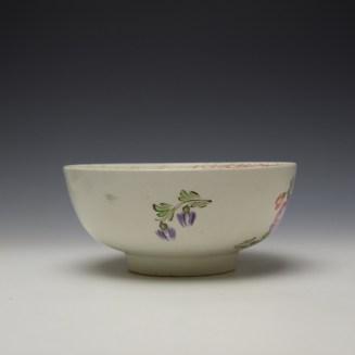 Lowestoft Polychrome Rose and Flower Sprays Pattern Slop Bowl, c1770-75 (2)