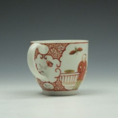 Lowestoft Porcelain Butterfly Catching Party Mandarin Pattern Coffee Cup c1780-90 (4)